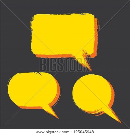three different shape message bubble design vector