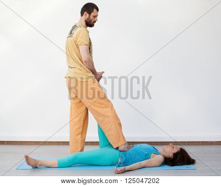 Pair Stretching. Thai Massage