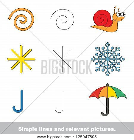 Simple lines are illustrated by relevant pictures. The colorful version.