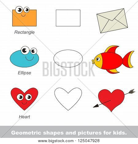 Simple geometric shapes for kids illustrated by relevant pictures.