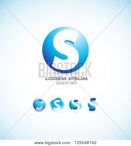 Vector company logo icon element template alphabet letter s set 3d sphere circle globe