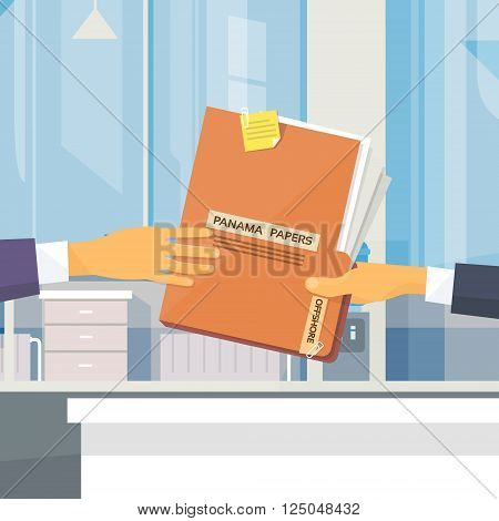 Hands Give Panama Papers Folder Secret Document Offshore Company Business People Owners Office Vector Illustration