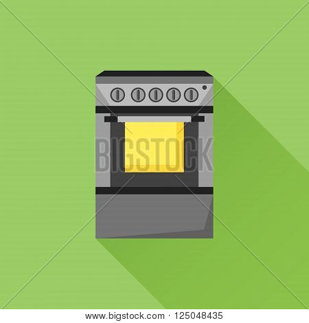 Stove flat icon with long shadow on green background