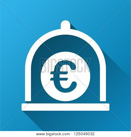 Euro Standard vector toolbar icon for software design. Style is a white symbol on a square blue background with gradient long shadow.