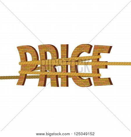 Related Orange Brick Letters Isolated on White Background. Price Concept