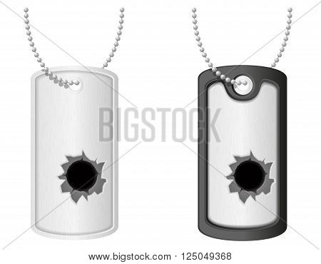 soldier military dog tags with bullet holes vector illustration isolated on white background