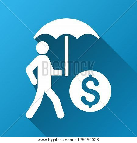 Walking Investor With Umbrella vector toolbar icon for software design. Style is a white symbol on a square blue background with gradient long shadow.