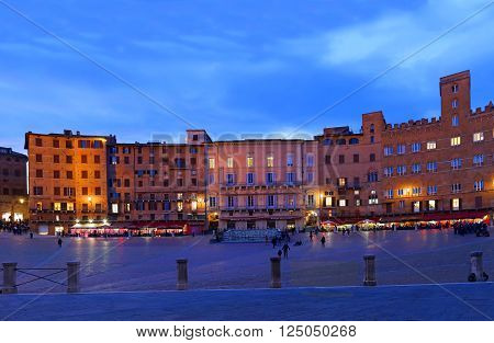 SIENA, ITALY - MARCH 11, 2016Campo Square with Public Building at sunset, Siena, Italy