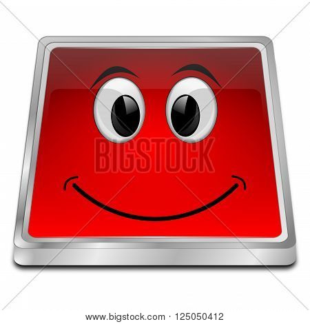 glossy red Button with smiling face 3D Illustration