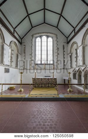ST AUGUSTINES CHURCH, BROOKLAND, ROMNEY MARSH, KENT 25TH FEBRUARY 2016 - View of the chancel and altar of Saint Augustines church Brookalnd Romney Marsh Kent