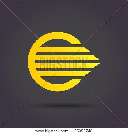 Golden arrow sign c letter logo template on dark background 2d vector icon eps 8
