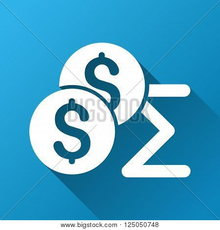 Coins Summary vector toolbar icon for software design. Style is a white symbol on a square blue background with gradient long shadow.