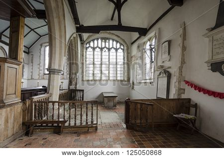 ST AUGUSTINES CHURCH, BROOKLAND, ROMNEY MARSH, KENT 25TH FEBRUARY 2016 - Interior of Saint Augustines church, Brooklands, Romney Marsh, Kent