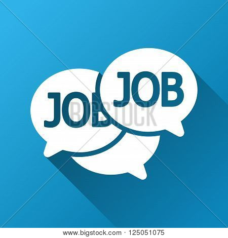 Labor Market Chat vector toolbar icon for software design. Style is a white symbol on a square blue background with gradient long shadow.