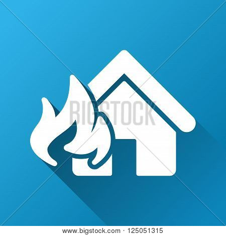 Realty Fire Damage vector toolbar icon for software design. Style is a white symbol on a square blue background with gradient long shadow.