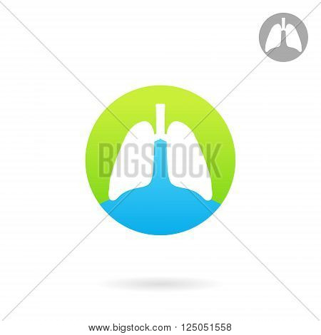 Human lungs icon medical logo 2d vector eps 8