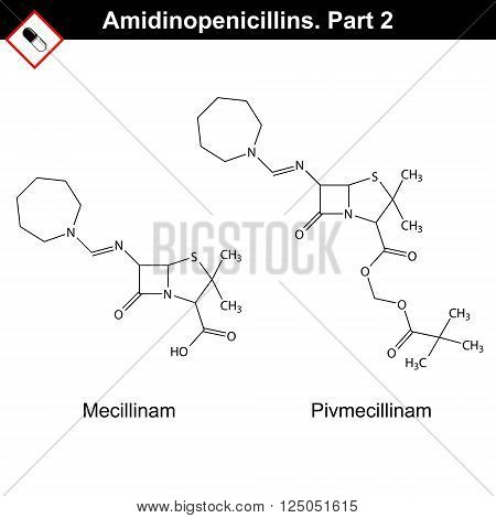 Chemical structures of amidinopenicillins - mecillinam and pivmecillinam second part 2d vector on white background eps 8