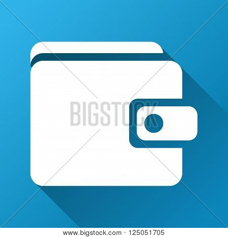 Wallet vector toolbar icon for software design. Style is a white symbol on a square blue background with gradient long shadow.