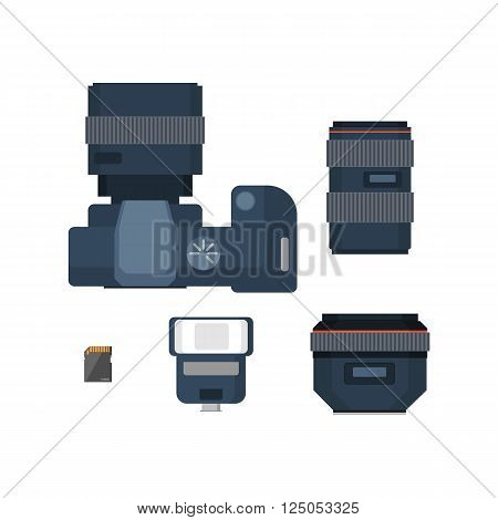 DSLR digital camera and accessories. Camera lenses, flash and memory card. Flat vector illustration.