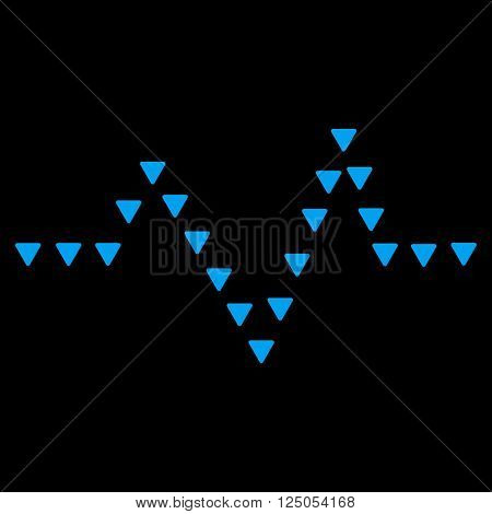 Dotted Pulse vector icon. Dotted Pulse icon symbol. Dotted Pulse icon image. Dotted Pulse icon picture. Dotted Pulse pictogram. Flat blue dotted pulse icon. Isolated dotted pulse icon graphic.