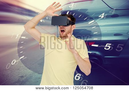 3d technology, virtual reality, entertainment and people concept - scared young man with virtual reality headset or 3d glasses playing car racing game over tachometer and street race background
