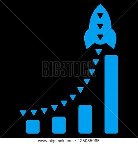 Rocket Business Bar Chart vector icon. Rocket Business Bar Chart icon symbol. Rocket Business Bar Chart icon image. Rocket Business Bar Chart icon picture. Rocket Business Bar Chart pictogram.