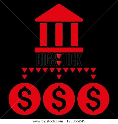 Bank Structure vector icon. Bank Structure icon symbol. Flat red bank structure icon.