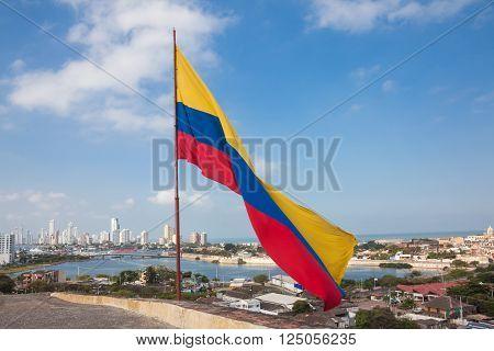 Colombian flag at San Felipe Castle waving over Cartagena de Indias