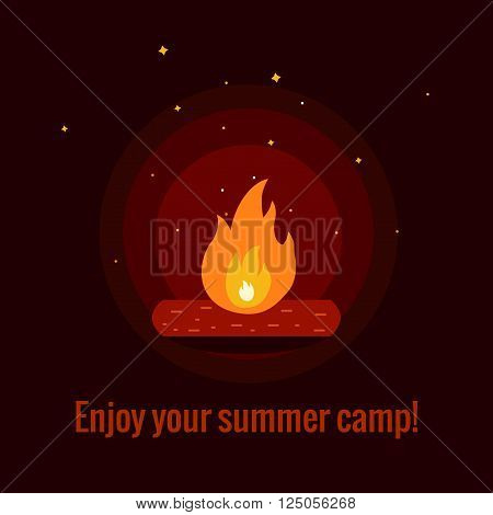 Camping fire background flat illustration. Camping fire background vector symbols. Vector illustration of night campfire. Campfire background for summer camp designs