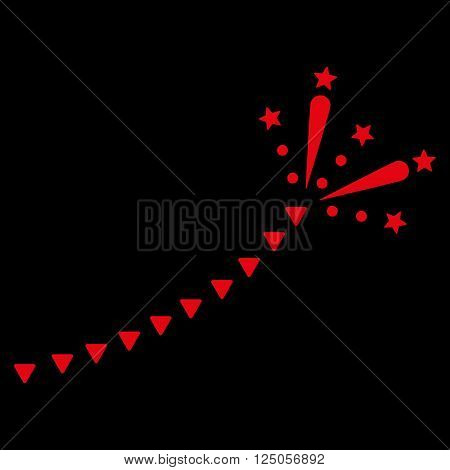 Fireworks Trace vector icon. Fireworks Trace icon symbol. Fireworks Trace icon image. Fireworks Trace icon picture. Fireworks Trace pictogram. Flat red fireworks trace icon.