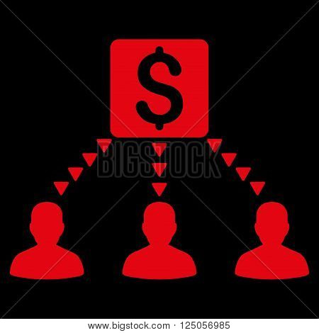 Money Recipients vector icon. Money Recipients icon symbol. Money Recipients icon image. Money Recipients icon picture. Money Recipients pictogram. Flat red money recipients icon.