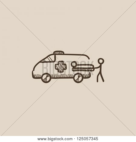 Man with patient and ambulance car sketch icon.