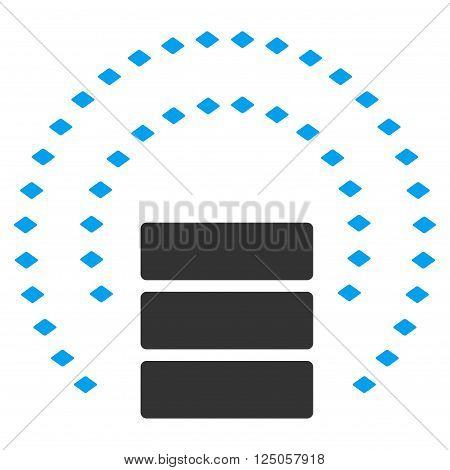 Database Sphere Shield vector toolbar icon. Style is flat icon symbol, color, white background, rhombus dots.