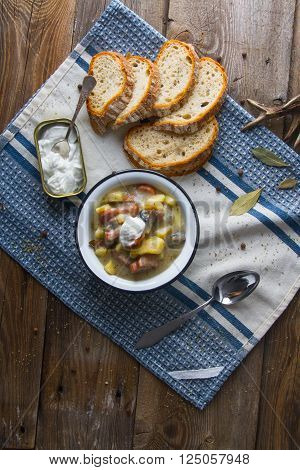 Polish Sour Soup With Sausage.