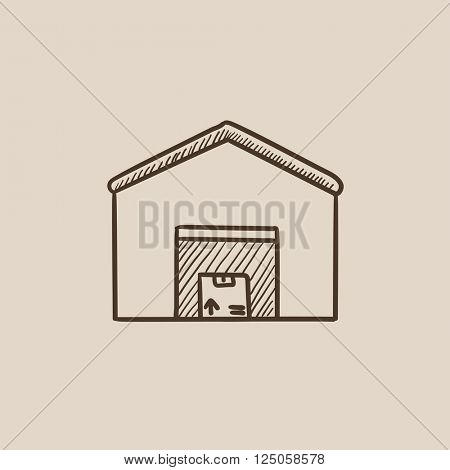 Warehouse sketch icon.