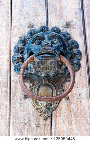 Door knocker monkey shaped in Cartagena de Indias