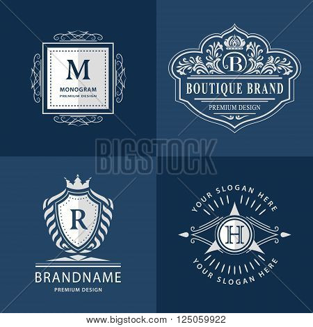 Vector illustration of Monogram design elements graceful template. Calligraphic elegant line art logo design. Letter emblem H B M R for Royalty business card Boutique Hotel Heraldic Jewelry