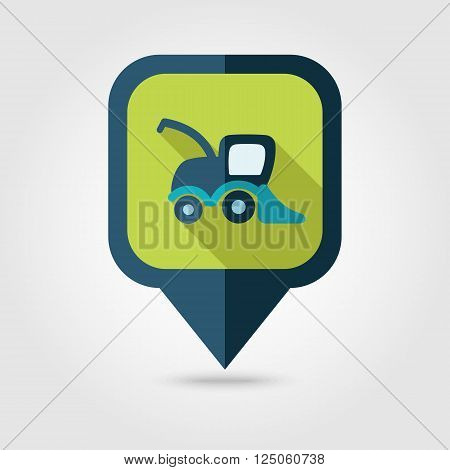 Combine harvester flat pin map icon. Map pointer. Map markers. Farm. Field. Transport. Vector illustration eps 10