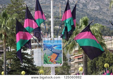 Monte-Carlo Monaco - April 6 2016: Poster and Flags for the Monte-Carlo Rolex Masters 2016 in Monte Carlo Monaco