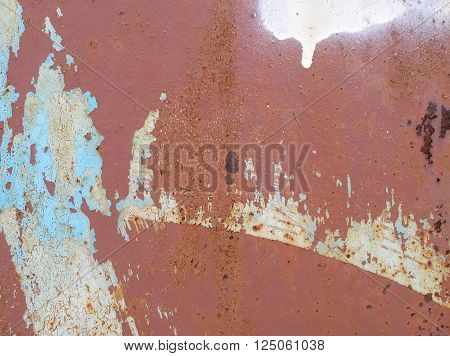 Rusty texture. Weathered metal abstract texture. Rusty iron surface. Grunge background. Old dirty rusty steel background. Cracked paint on the wall