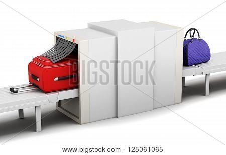 Illustration of baggage scanner on a white background. 3d rendering.