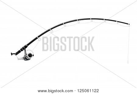 Fishing rod and reel isolated on white background. 3d rendering.