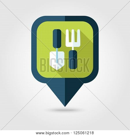 Garden fork garden shovel pitchfork garden tool flat pin map icon. Map pointer. Map markers. Farm. Garden. Vector illustration eps 10
