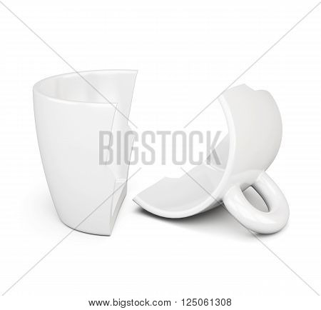 Broken in half a cup isolated on white background. 3d rendering.