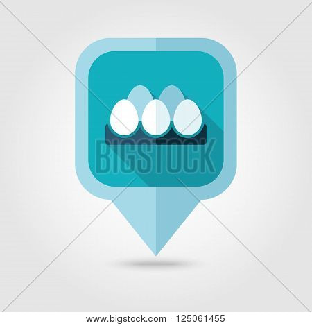 Chicken eggs in a tray flat pin map icon. Map pointer. Map markers. Farm. Food. Vector illustration eps 10