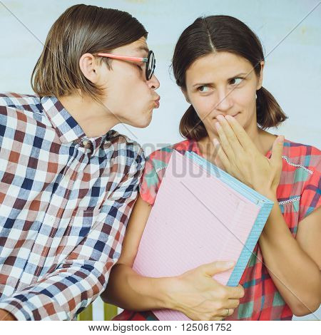Date In  Cafe. Young Nerd Man With Beautiful Young Woman.