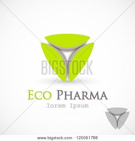 Logo pharma bright green icon vector isolated on background