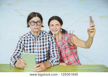 Nerd Couple Making Selfie With Smartphone