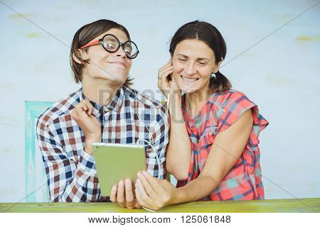 Nerd Couple Listening Music Together
