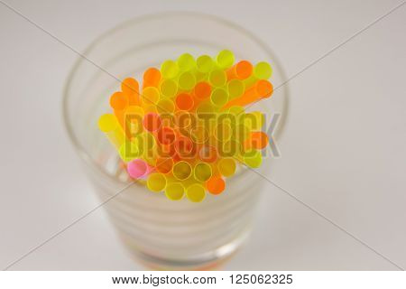 The plastic drinking straws close up multicolor